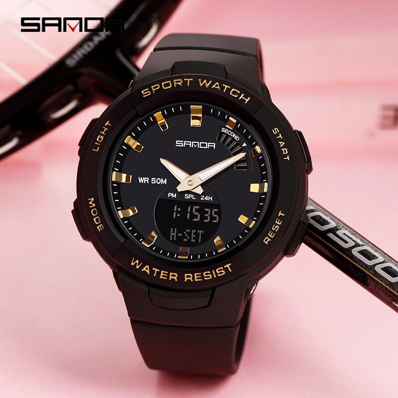 SANDA-montres pour hommes et femmes, montre de luxe, résistance, compte à rebours de Sport, étanche 50M, pour garçons et filles 6