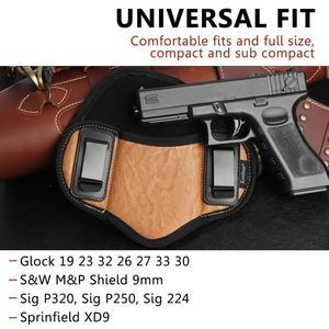 Image 3 - Kosibate Jacht Holster Pu Lederen Verborgen Voor Pistool Glock 17 19 23 32 Sig Sauer P250 P224 Beretta 92 taurus Pannenkoek Iwb