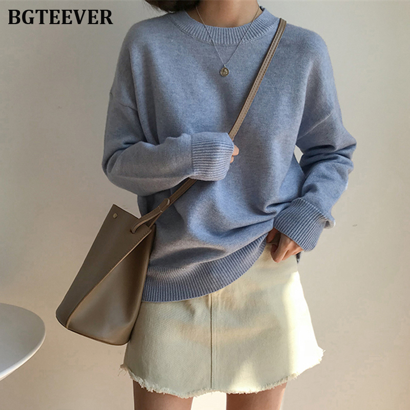 BGTEEVER Basic O-neck Knitted Jumpers For Women Sweater Casual Loose Long Sleeve Winter Sweater Female Pullovers Streetwear