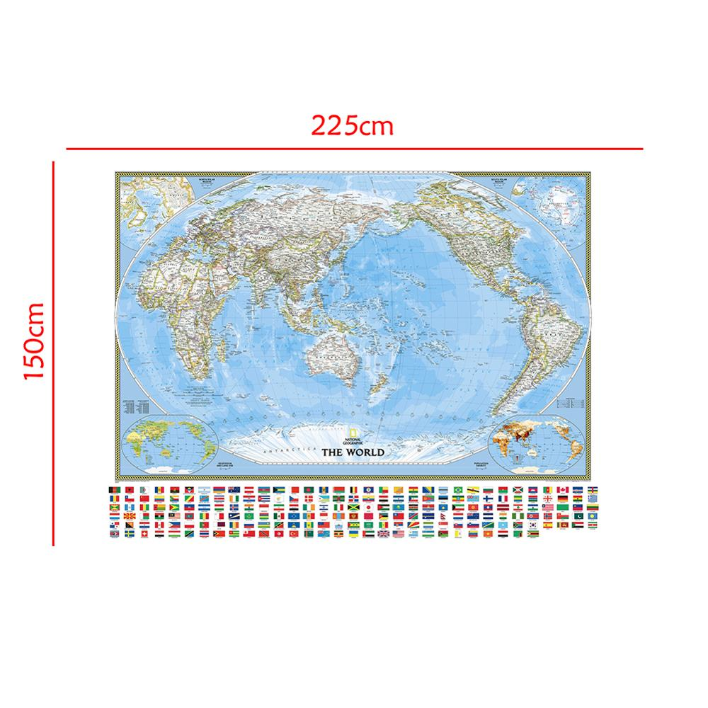 Non-woven Waterproof World Map 150x225cm The World Physical Map With Vegetation Cover Rate And Population Density For Education