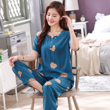 Foply V-Neck Short Sleeve Pajamas Set Women's Sleepwear Cotton Viscose Nightwear Soft Top And Shorts