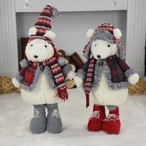 Image 2 - 2 шт./лот, подарок на Новый год, Рождество, день рождения, милый плюшевый медведь, куклы, Рождественское украшение для дома, офиса, прекрасные стоячие игрушки
