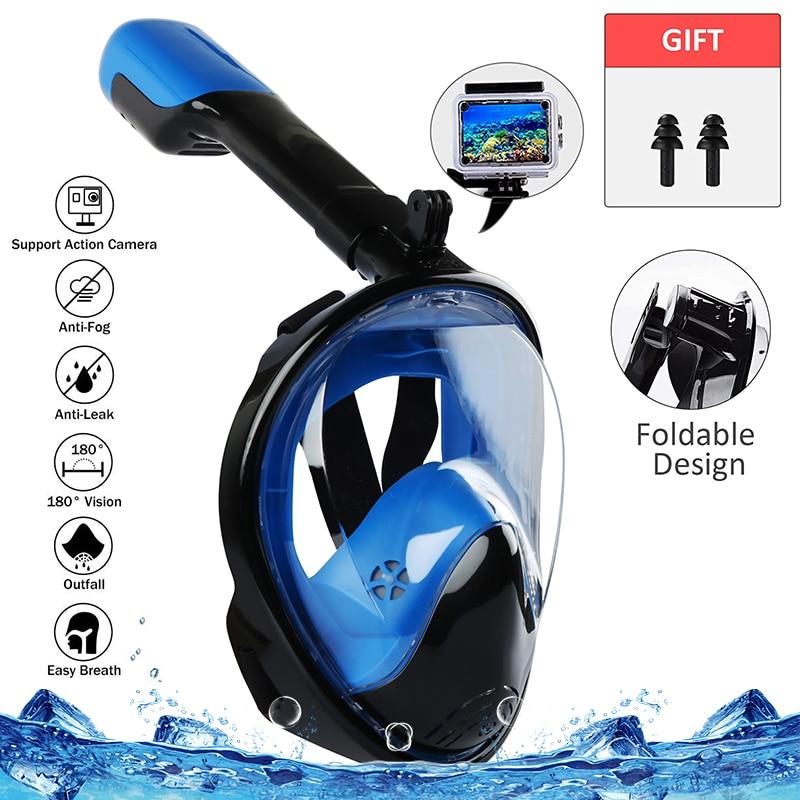 Adult Kid Foldable Full Face Diving Mask Anti-Fog Snorkeling Underwater Scuba Swimming Mask Glasses Snorkel Dive Equipment(China)