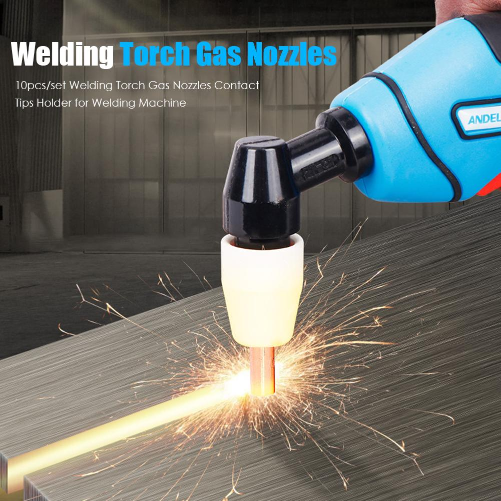10pcs/set Copper Welding Torch Gas Nozzle Contact Tip Holder For Welding Machine Conveninently And Simple Installation