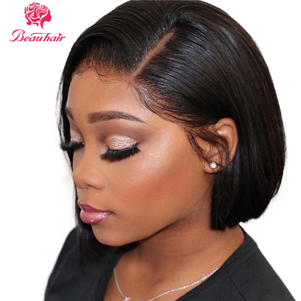 Short Bob Wig 2*6 Lace Closure Human Hair Wigs Middle Part Wig Natural Color Non Remy Straight Malaysian Beau Hair