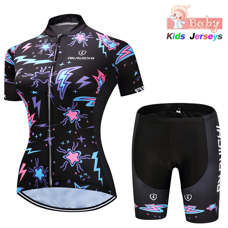 Girls 2020 Cycling Kit Kid Cycling Jersey Set Cartoon Children Cycling Clothing Summer Bike Jersey Quick Dry Bicycle Jersey Suit|Cycling Sets| |  -