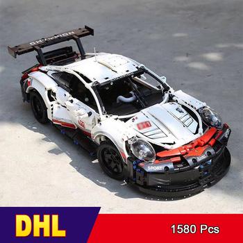 DHL 20097 seria Technic formuła samochód wyścigowy RSR Model 90066 kompatybilny 42096 1580 sztuk Supercar klocki budowlane zabawka tanie i dobre opinie Unisex 6 lat 11001 BLOCKS Z tworzywa sztucznego Samozamykajcy cegły Assemblage