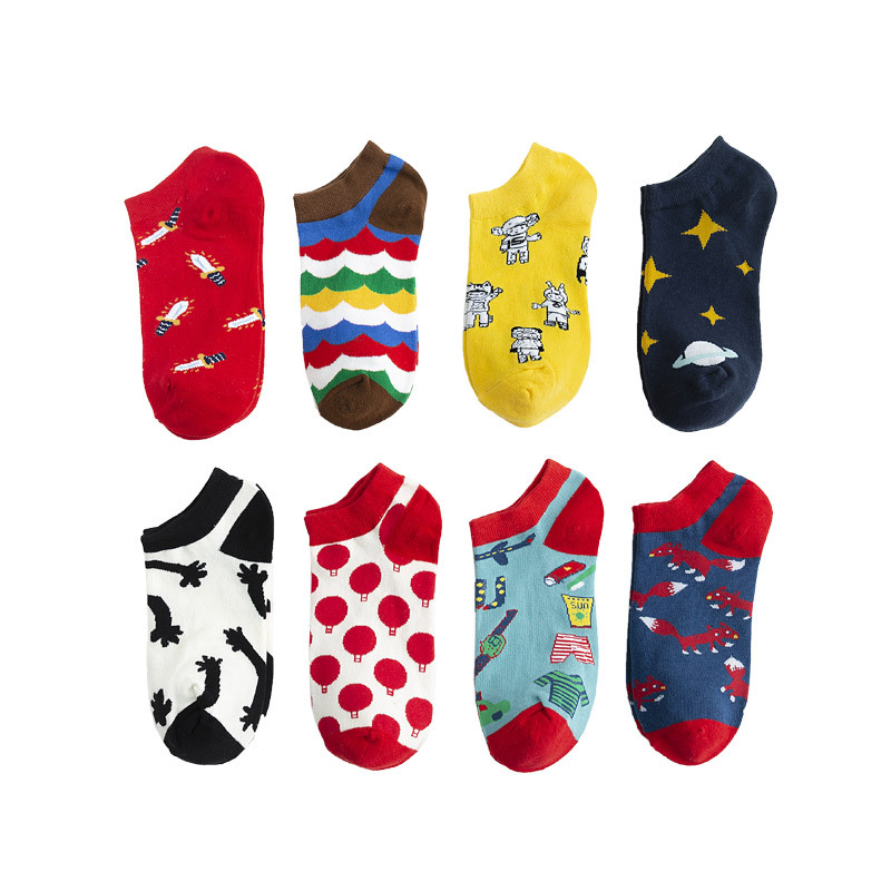 New Men Women Colorful New Fashion Style Cartoon Fox Planet Cotton Boat Socks High Quality Socks For Men And Women