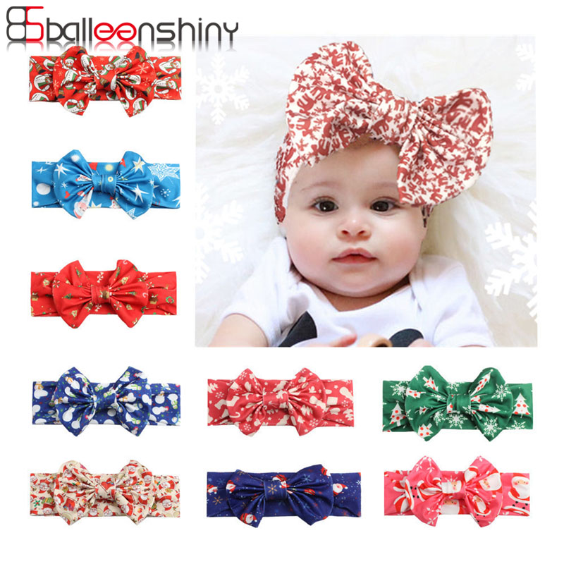 Balleenshiny New Infant Baby Bow Print Headband Christmas Baby Headband Newborn Photography Props Kids Girls Baby Accessories