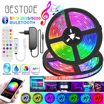 Wysokiej klasy Bluetooth listwy RGB LED SMD 5050 elastyczna taśma 2835 LED światła 20M-5M taśma dioda DC12V muzyka Bluetooth sterowania tanie i dobre opinie BESTOPE CN (pochodzenie) ROHS SALON 5000 PRZEŁĄCZNIK Taśmy 3 84W m Epistar 110V-220V Smd5050 DC 12V Power Adapter 5M roll