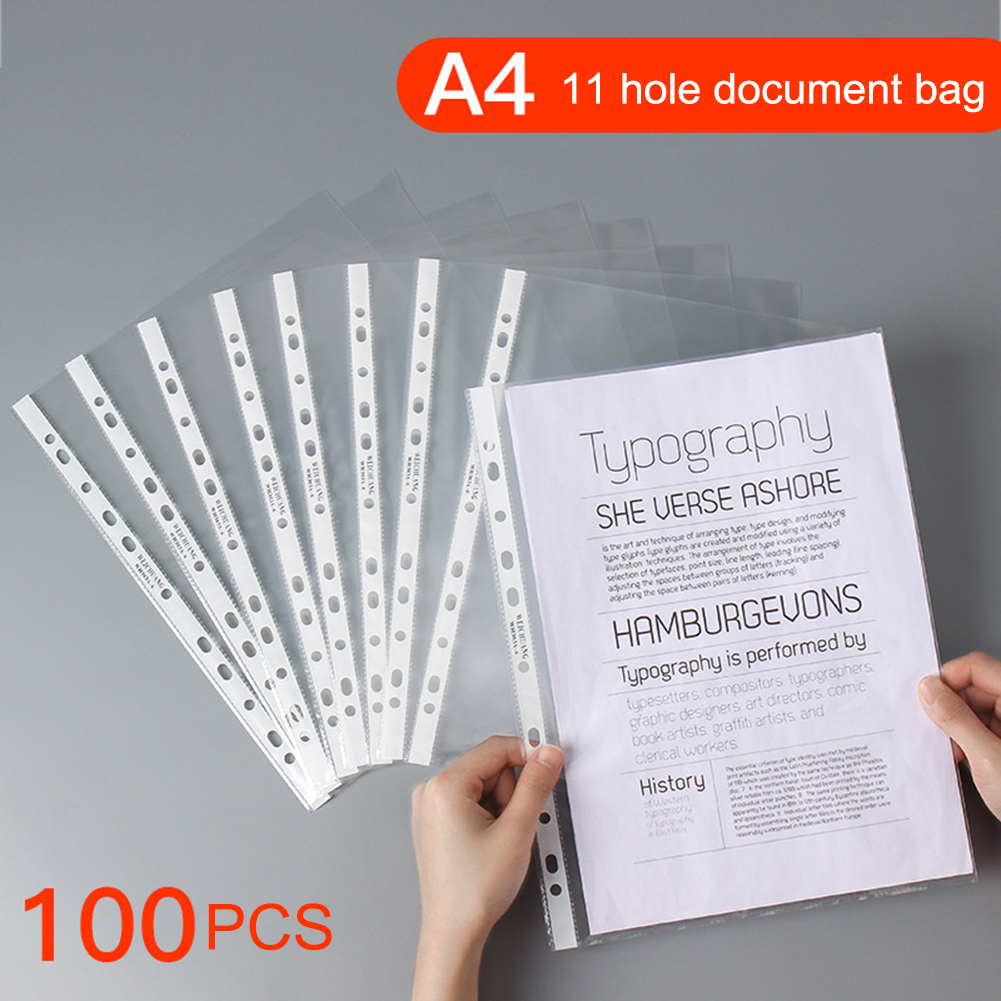 100Pcs A4 Plastic Punched Pockets Folders Filing 11 Holes Loose Leaf Documents Sheet Protectors Transparent Folder Bag