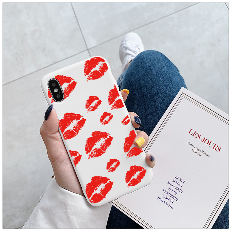 Black Sexy Girl red Lips Kiss TPU Soft Silicone Phone Case Cover