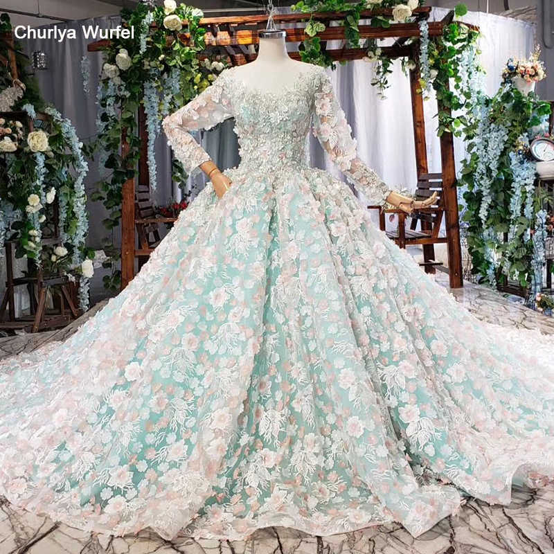 HTL826 light blue evening dress long color flowers o-neck long sleeves green evening gown pink dress bridal vestidos formales