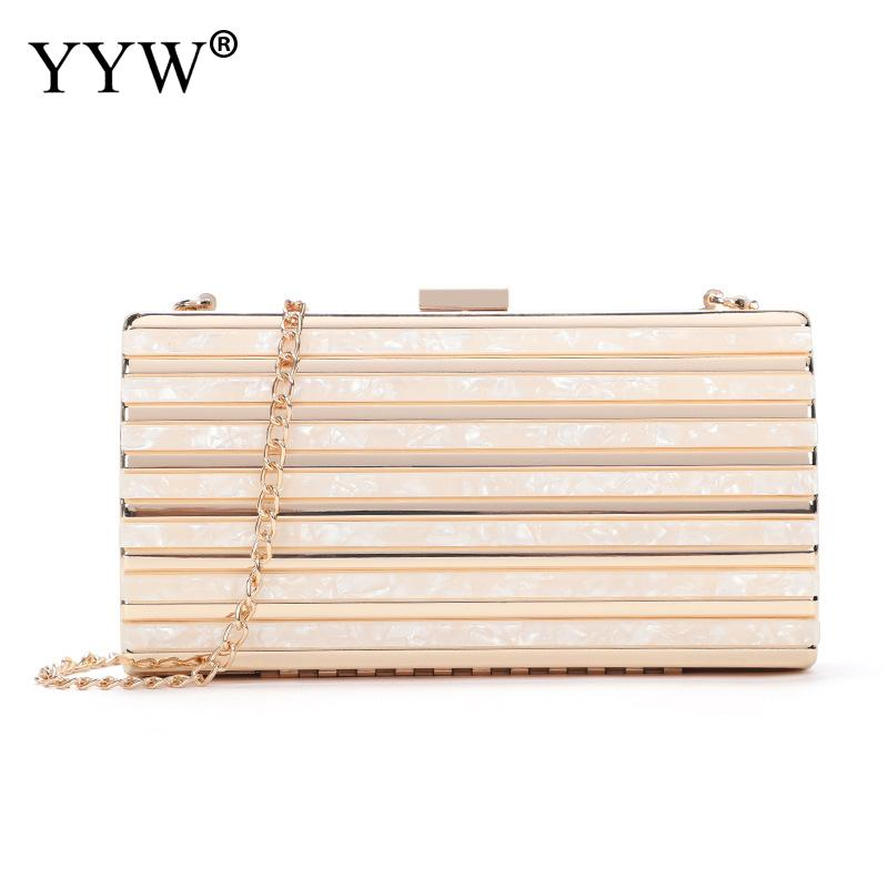 Metal Clutch Bag Women Evening Purse Wedding Box Long Bags Over Shoulder Crossbody Bag Female Pink Fashion Party Luxury Clutches