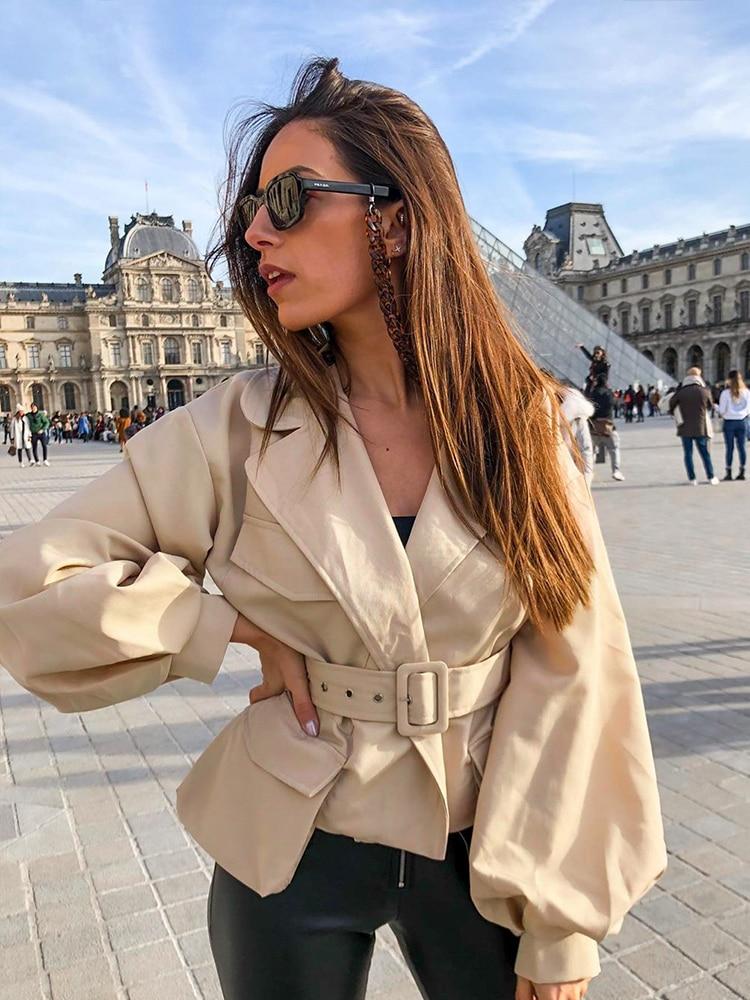 Simplee Short Jackets Belt Overcoat Simplee-Lantern-Sleeve Autumn High-Waist Female V-Neck