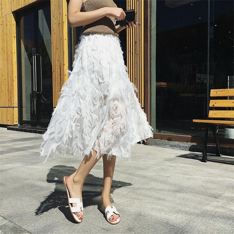 Womens Ladies Skirt Elastic High Waist Mesh Tulle Tutu Skirt Layered Pleated Skirts Streetwear Fashion Women Skirts