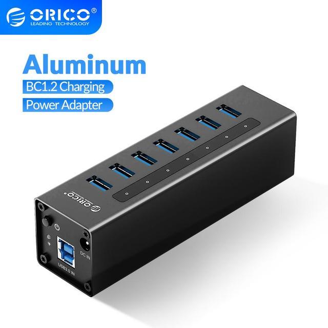 ORICO 7 Cổng USB 3.0 Hỗ Trợ BC1.2 Sạc Với Nguồn 12V Nhôm Bộ Chia USB Cho Phụ Kiện Macbook máy Tính Để Bàn OTG