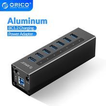 منفذ USB 3.0 من ORICO مزود بـ 7 منافذ يدعم BC1.2 للشحن مع مهايئ طاقة 12 فولت موزع USB من الألمونيوم لملحقات ماك بوك سطح المكتب OTG