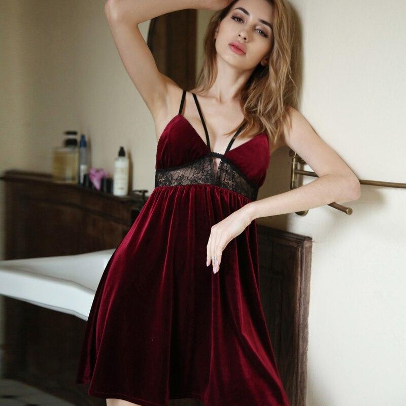 Schwarz Rot Nachthemd Ärmellose Nacht Kleid Prinzessin für Frauen Sexy Nachtwäsche Goldenen Samt Spitze Attraktive House