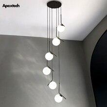 Lampe suspendue nordique moderne en spirale pour hall de Villa Duplex, lustre pour escalier, salle à manger, salon, hôtel