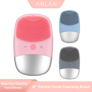 ANLAN Mini Electric Facial Cleansing Brush Silicone Sonic Face Cleaner Skin Massager Deep Pore Cleaning Face Cleansing Brush