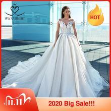 זוהר ארוך שרוול נסיכת חתונה שמלת 2020 Swanskirt אפליקציות כדור שמלת מתוקה חרוזים כלה F307 Vestido דה noiva