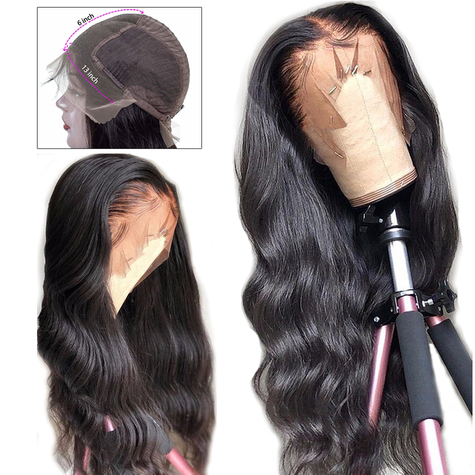 Wig Human-Hair-Wigs Lace-Frontal Brazilian-Hair Body-Wave Pre-Plucked 13x6 with Remy