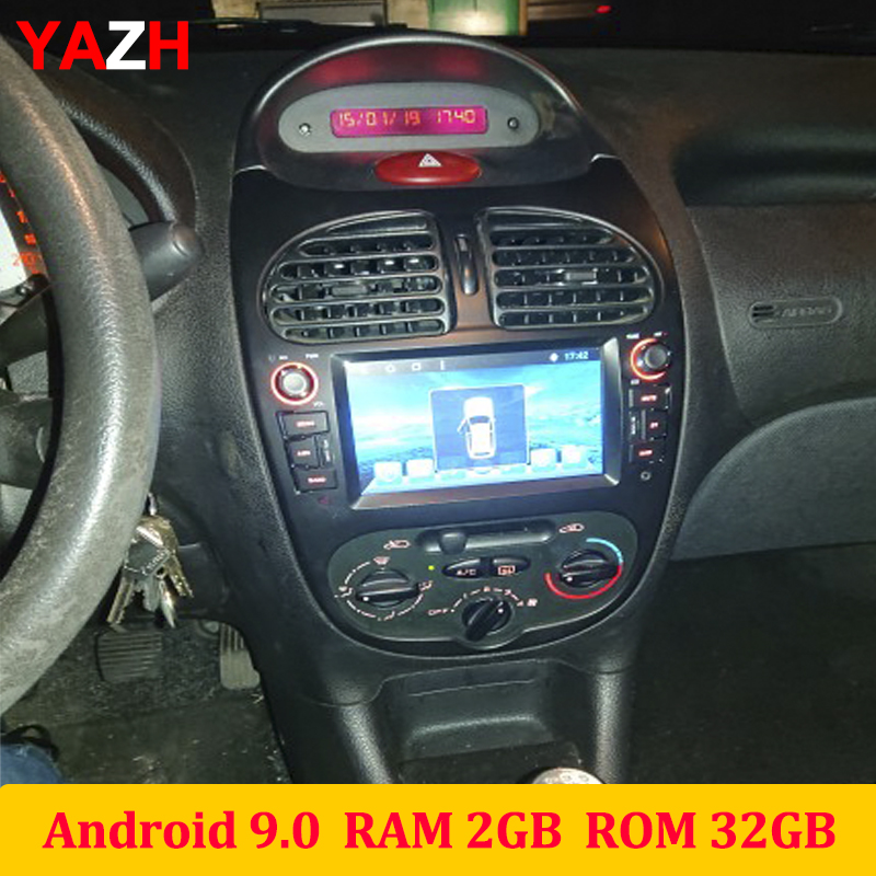 YAZH Android 9.0 DVD CD Player For <font><b>Peugeot</b></font> <font><b>206</b></font> 2002 2003 2004 2005 2006 2007 2008 Auto Radio With Bluetooth 5.0 <font><b>Screen</b></font> Link SWC image