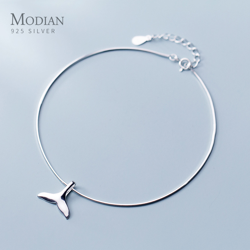 Modian Simple Cute Mermaid Tail Anklet for Women Fashion 925 Sterling Silver Link Chain Animal Anklet Fine Jewelry Girl Gift