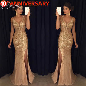 Evening-Gown Glitter Gold Parties Elegant Sexy Formal Woman New SALE Double-V-Neck Suitable-For
