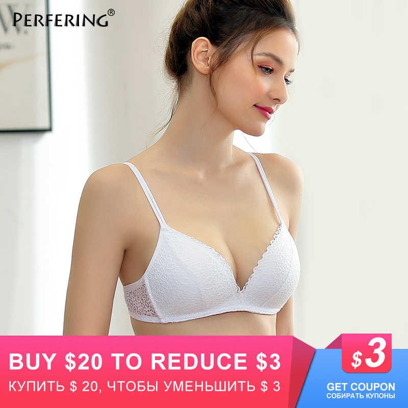 Perfering Push Up Sexy de encaje Floral Bra alambre libre ajustable superior ropa interior Mujer ropa interior 3/4 Copa B C 70 75 80 85 90 95