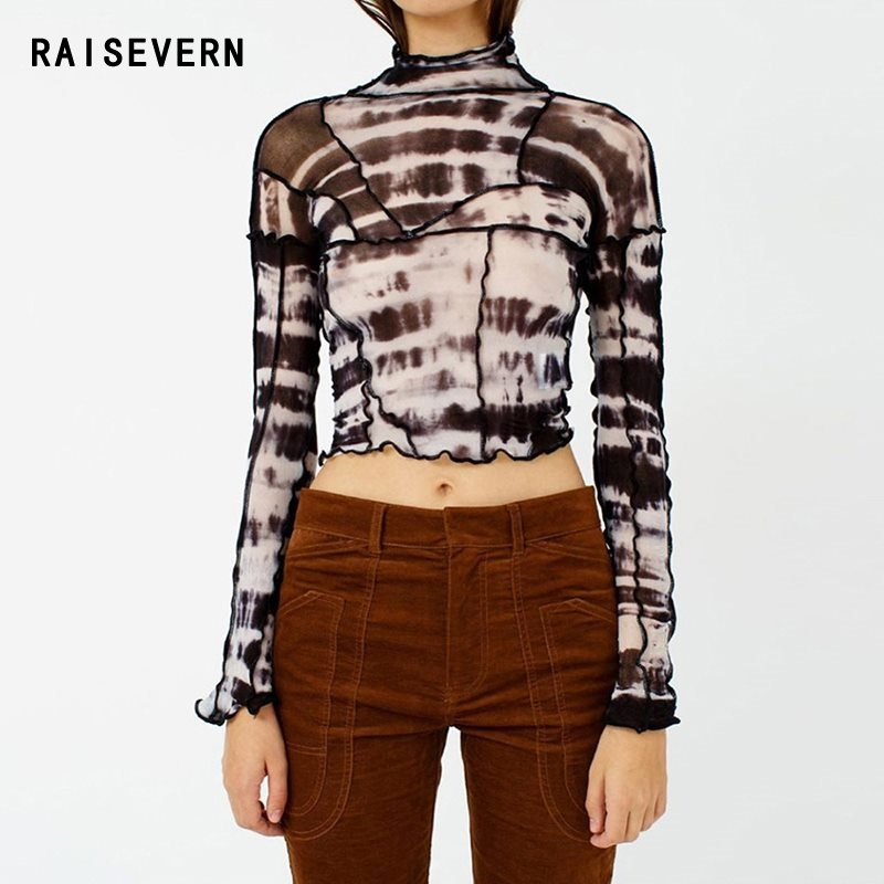 2020 Spring Summer Black Mesh Patchwork Crop Tops Women Long Sleeves Sexy Backless T-shirt Fashion Vintage Stretch Tees