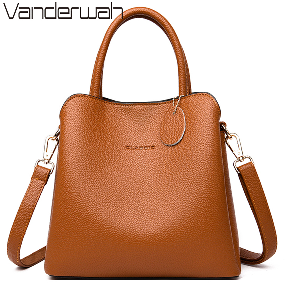 New 3 Main Pocket Leather Luxury Handbags Women Bags Designer  Female Croosbody Bags For Women Small Casual Tote Bag Sac A  MainTop-Handle Bags