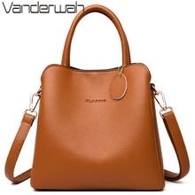New 3 Main Pocket Leather Luxury Handbags Women Bags Designer Female Croosbody Bags For Women Small Casual Tote Bag Sac A Main