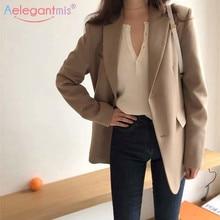 Aelegantmis, модный дизайнерский Блейзер, куртка для женщин, повседневный костюм с карманами и длинными рукавами, пальто, Осенние офисные женские сплошные блейзеры