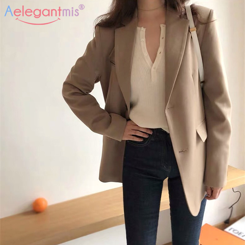 Aelegantmis Blazer Jacket Coat Work-Suit Spring Long-Sleeve Office Lady Women New-Fashion title=