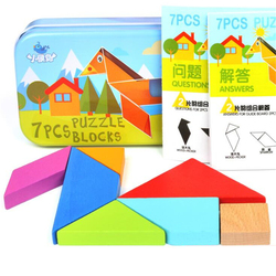 7 Piece Jigsaw Puzzle Colorful Wooden Tangram Square IQ Game Brain Teaser Intelligent Educational Toys for Kids