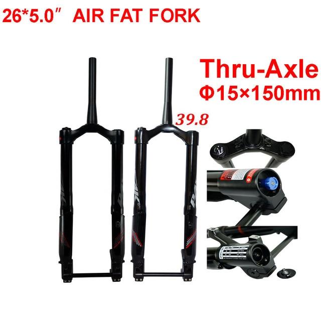 שומן אופני מזלג 26x5.0 שלג מזלגות MTB אוויר השעיה מזלג עבור 26 אינץ 5.0 צמיג Thru סרן 15x150mm 1 1/8 1 1/2 מחודד צינור