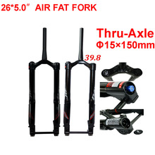 Fat Bike Fork 26x5.0 Snow Forks MTB Air Suspension Fork For 26 Inch 5.0 Tyre Thru-axle 15x150mm 1 - 1/2 Tapered Tube New Coming стоимость