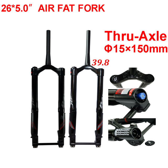 Fat Bike Fork 26x5.0 Snow Forks MTB Air Suspension Fork For 26 Inch 5.0 Tyre Thru axle 15x150mm 1 1/8 1 1/2 Tapered Tube