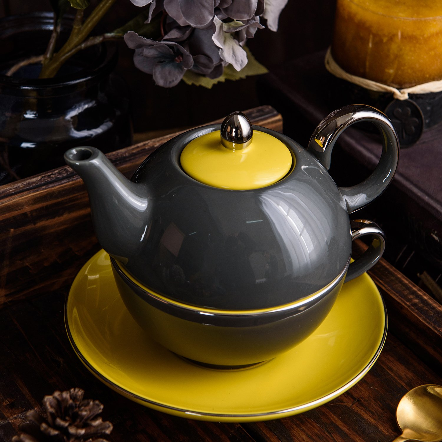 Artvigor Ceramic Porcelain Travel Tea Set For One With One Teapot And Cup With Saucer Stackable Single Serve 3-Piece Teaware Set