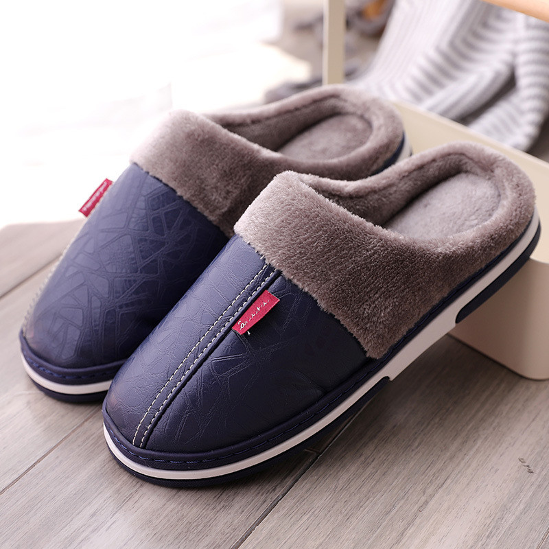 Leather Warm Winter Home Slippers Non-Slip Thick Warm House Shoes Cotton Women Men Slippers Indoor Shoes Flats Plus Size 37-46