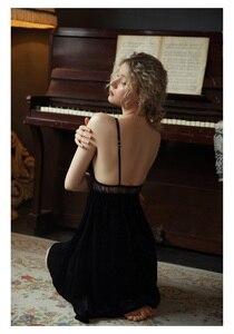 Image 5 - Sexy Nightdress Sleepwear Casual Nightwear Home Dress Female Sleepshirt Velvet Hollow Deep V Beauty Back Seductive Homewear