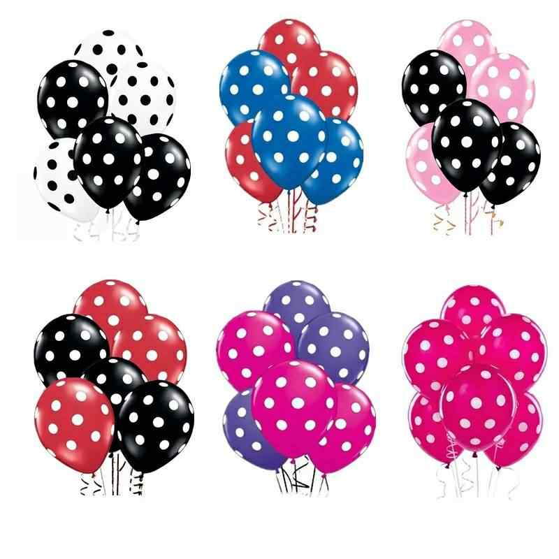 15 Stks/partij 12Inch Zwart Rood Stip Latex Ballon Lucht Globos Mickey Minnie Party Verjaardag Presenteert Ballonnen Wedding Decorations