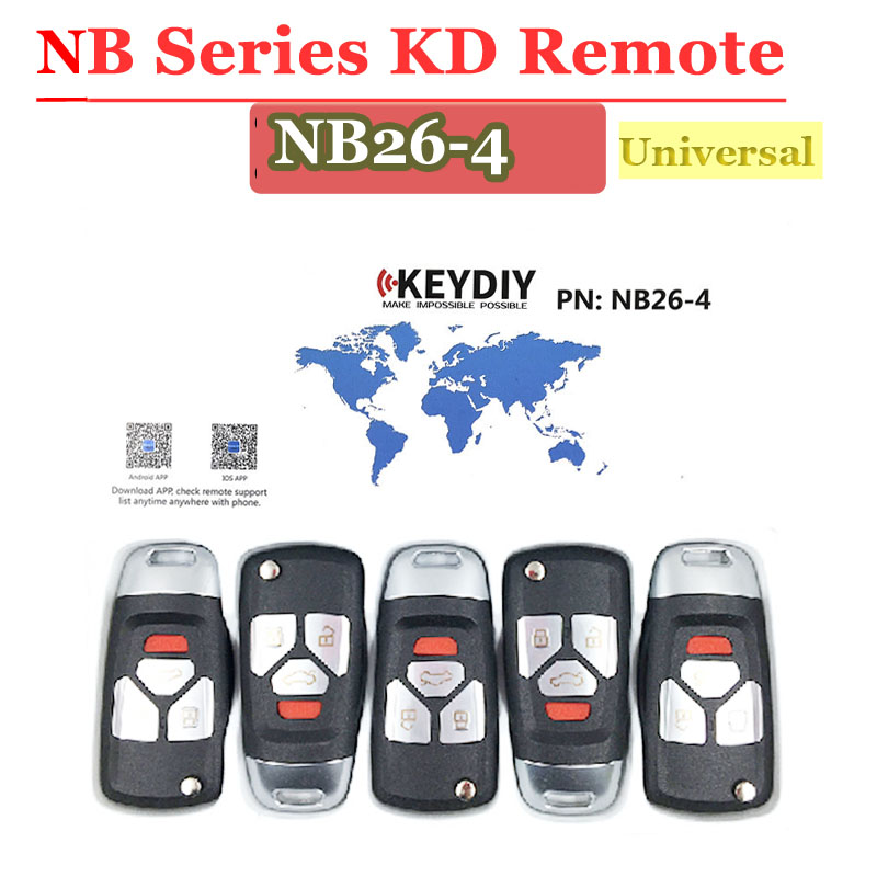 Hot (5 Pcs/Lot)NB26 4 Button Kd900 Remote 3 Button NB Series Key Universal Multi-function  For KD900 URG200 Remote Master