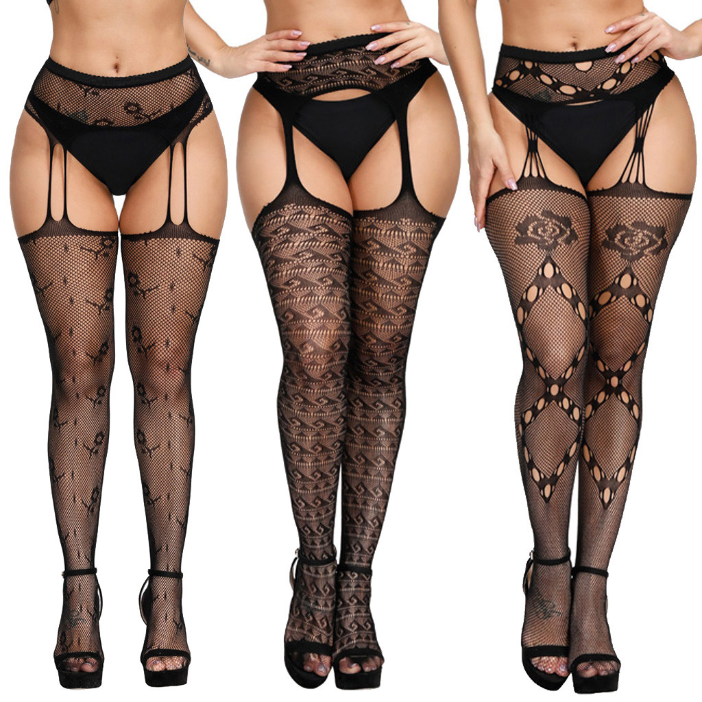 Erotic Costumes Women's Sexy Lingerie Fishnet Tight Stockings Sexy Underwear Transparent Lace Pantyhose Babydoll Porno Lenceria