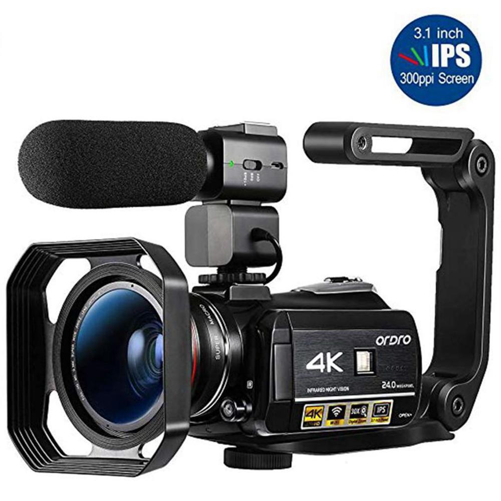 Видео Камера 4K видеокамера: профессиональная цифровая видеокамера Ordro AC3 30X цифровой зум IR Ночное видение видео для Камера Filmadora для YouTube-блог...