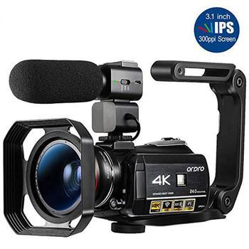 Video Camera 4K Camcorder Professional Ordro AC3 IR Night Vision Digital Recorder Vlog Filmadora for YouTube Blogger Shooting