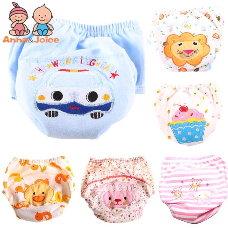 2Pc/lot Baby Training Pants Study Diaper Underwear/Infant Learning Panties/Newborn Cartoon Diapers