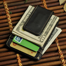 Vintage Genuine Leather Money Clip Front Pocket Clamp For  Holders Magnet Magic  Clips Wallet with Card ID Case цена